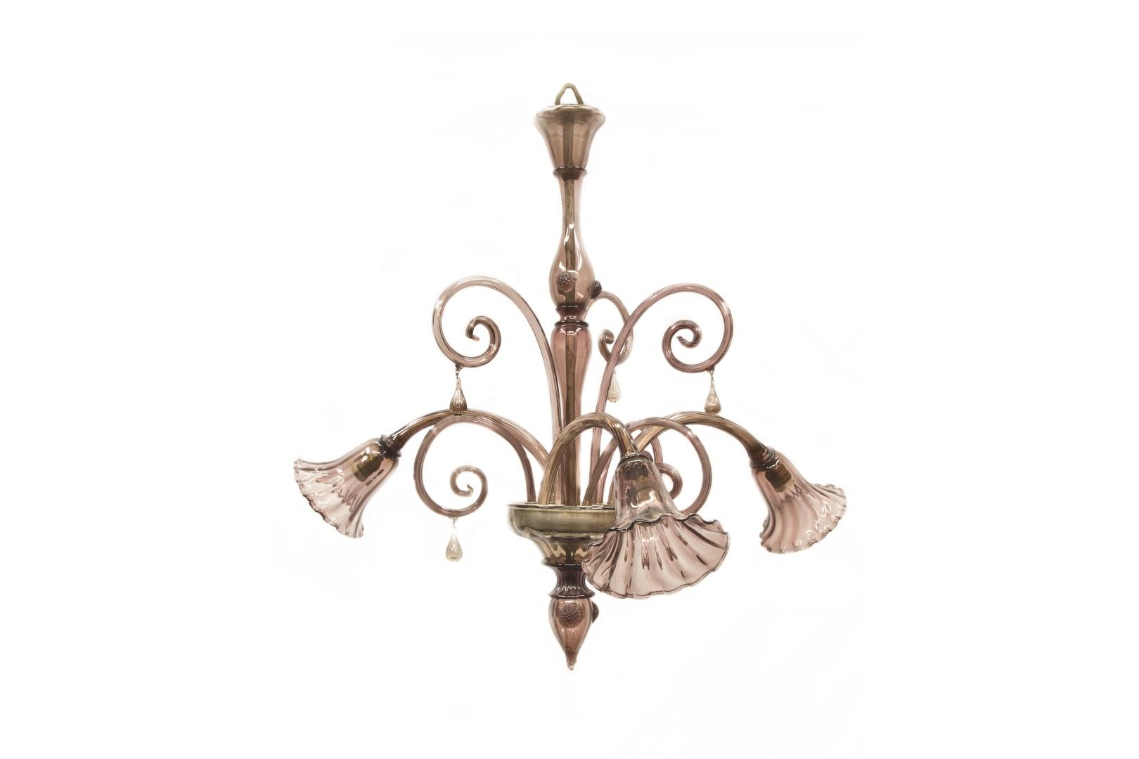 la05 lampadario in vetro di murano viola murano metà del xx secolo ...